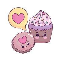 carino cibo cupcake e cookie amore cuore dolce dessert pasticceria cartone animato isolato design vettore