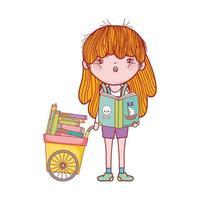 libro di lettura ragazza carina di pirati e carrello con molti libri
