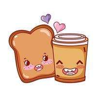 colazione carina fetta di pane e tazza di caffè usa e getta cartone animato