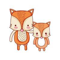 carino volpi famiglia animale fumetto icona isolato design vettore