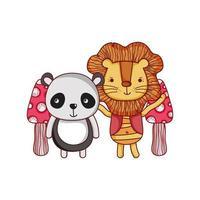 simpatici animali, simpatico leone e panda natura cartone animato