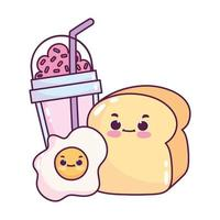 carino cibo colazione pane e uova fritte e frullato dolce dessert pasticceria cartone animato isolato design