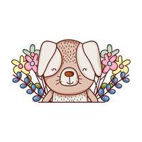 simpatici animali, cagnolino fiori foglie fogliame cartone animato vettore
