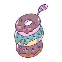 carino cibo ciambelle kawaii dolce dessert pasticceria cartone animato design isolato vettore