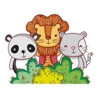 simpatici animali, leone panda e gatto natura fogliame cespuglio natura botanica design vettore