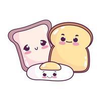 carino cibo fetta colazione pane e uovo fritto dolce dessert pasticceria cartone animato isolato design
