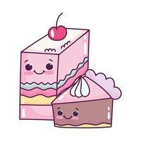 carino fetta di cibo gelatina con frutta e fetta di torta dolce dessert pasticceria cartone animato isolato design