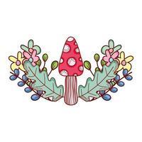 cartone animato carino fungo fiori fogliame ramo