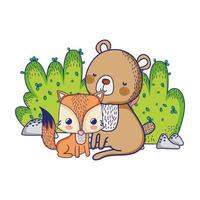 simpatici animali, orso e volpe cespuglio natura design isolato