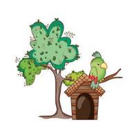 simpatici animali, pappagalli nel ramo di albero del fumetto icona isolato design