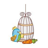 simpatici animali, gabbia del pappagallo blu e cartone animato di carote vettore