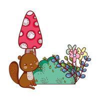 simpatici animali, piccolo scoiattolo fungo fiori fogliame cartone animato vettore