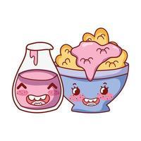 colazione ciotola carina con cartone animato bottiglia di yogurt ai cereali