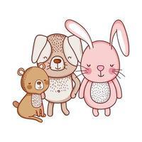 simpatici animali, orso coniglio e cane fumetto icona isolato design vettore