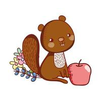 simpatici animali, piccolo scoiattolo con cartone animato fiore di mela vettore
