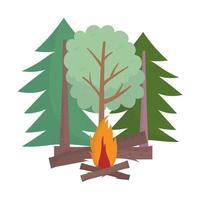 campeggio falò alberi foresta cartone animato in legno isolato design