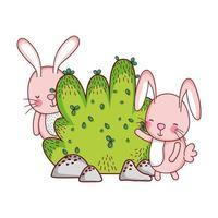 simpatici animali, conigli cespuglio natura botanica vettore
