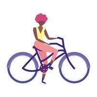giovane donna equitazione bicicletta ricreativa icona isolata vettore