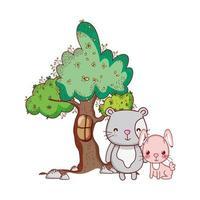 simpatici animali, coniglio rosa con albero gatto natura cartone animato vettore