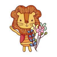simpatici animali, piccolo leone fiori foglie fogliame cartone animato vettore