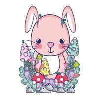 simpatici animali, piccolo coniglio fiori foglie di funghi fogliame cartone animato vettore