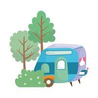 rimorchio da campeggio fiori cespuglio alberi erba cartone animato