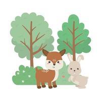 campeggio simpatico coniglietto e cervi alberi fiori cespuglio cartone animato vettore