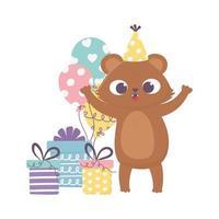 felice giorno, orso con scatole regalo cappello da festa e palloncini