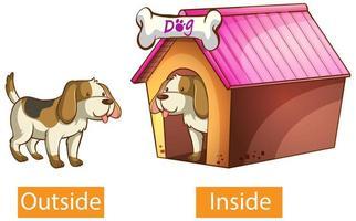aggettivi opposti parole con esterno e interno vettore