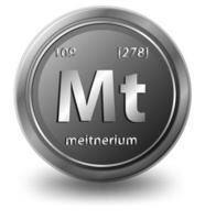 elemento chimico meitnerio. simbolo chimico con numero atomico e massa atomica.