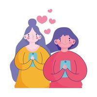 persone e smartphone, giovani donne che chiacchierano utilizzando gadget mobili vettore
