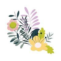 fiori foglie fogliame natura decorazione icona isolata