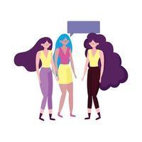 gruppo donne giovani personaggi parlando bolla isolato design vettore