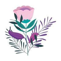 fiori foglie fogliame natura decorazione icona isolata vettore
