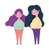 felice festa della mamma, giovani donne in piedi insieme celebrazione design vettore