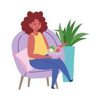 ristorante allontanamento sociale, donna che mangia zuppa mantiene una distanza di sicurezza, prevenzione covid 19 coronavirus vettore