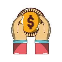mano che tiene la moneta da un dollaro denaro icona design isolato ombra vettore
