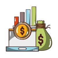 denaro business laptop denaro grafico icona finanziaria design isolato ombra vettore