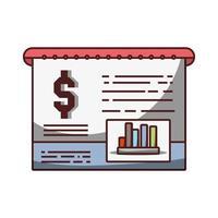 documento relazione finanziaria affari soldi icona isolato design ombra vettore