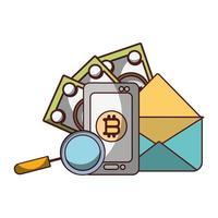 soldi affari finanziari smartphone e-mail denaro banconota analisi vettore
