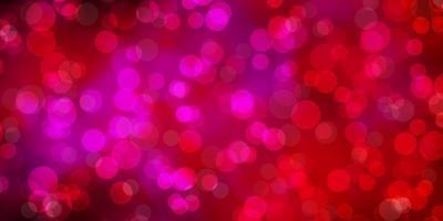 sfondo vettoriale rosa chiaro con cerchi.