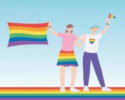 comunità lgbtq, persone con vestiti e bandiere color arcobaleno, parata gay protesta contro la discriminazione sessuale vettore