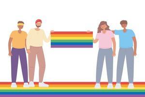 comunità lgbtq, gruppo di giovani enorme celebrazione della bandiera arcobaleno, parata gay protesta contro la discriminazione sessuale vettore