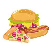 fast food pizza hot dog e hamburger vettore