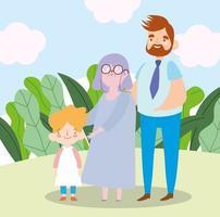 nonna di famiglia con figlio e nipote insieme personaggio dei cartoni animati vettore