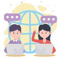 giovane uomo e donna utilizzando laptop texting alla comunicazione e alle tecnologie dei social network mondiali vettore