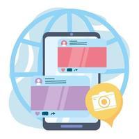 comunicazione e tecnologie dei social network dell'applicazione della fotocamera dello smartphone vettore