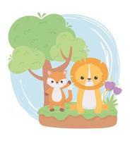 carino piccolo leone volpe fiori albero erba animali dei cartoni animati in un paesaggio naturale vettore