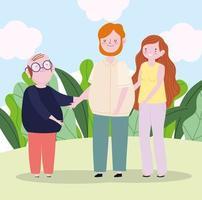 padre di famiglia, madre e nonno insieme nel cartone animato del parco vettore