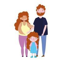 genitori di famiglia con la figlia in piedi insieme personaggio dei cartoni animati vettore